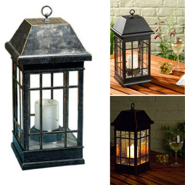 Style Outdoor Solar Lantern Hanging Light Led Pillar Candle Yard Medium