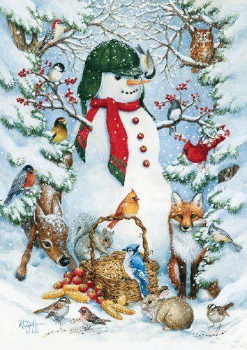 style toland home garden 109377 woodland snowman house flag