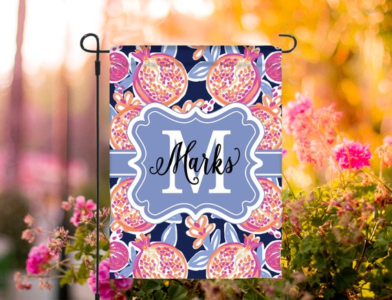 Summer Garden Flag Personalized Spring Flag Monogrammed Medium