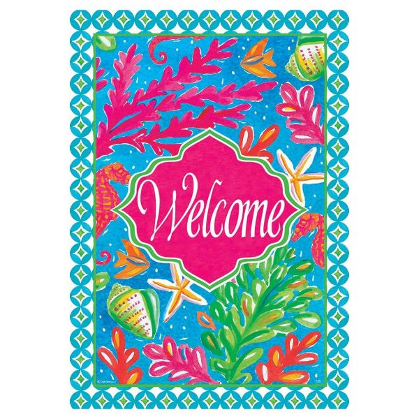Summer Garden Flag  Tropical Welcome Medium