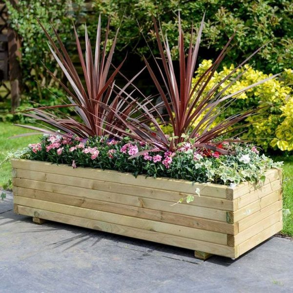 Tips Wooden Patio Rectangular Planter Garden Large Furniture Medium