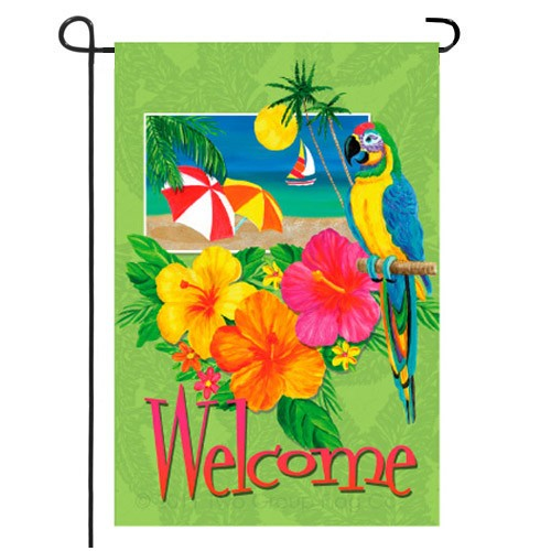 Tropical Welcome Summer Garden Flag  Regional Garden Medium