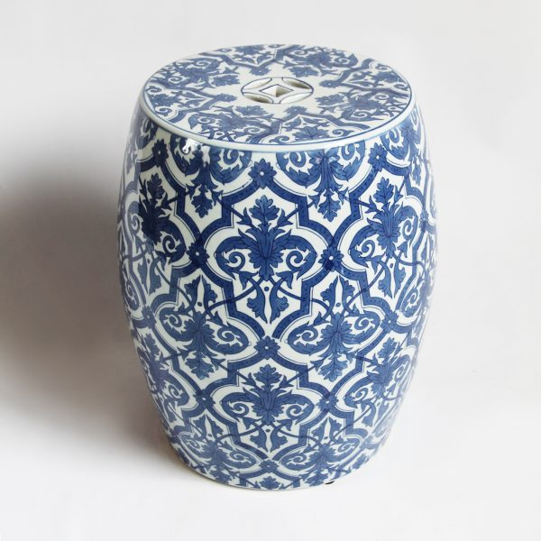 We Share Blue   White Ceramic Garden Stool Furnituremix Furniture Medium