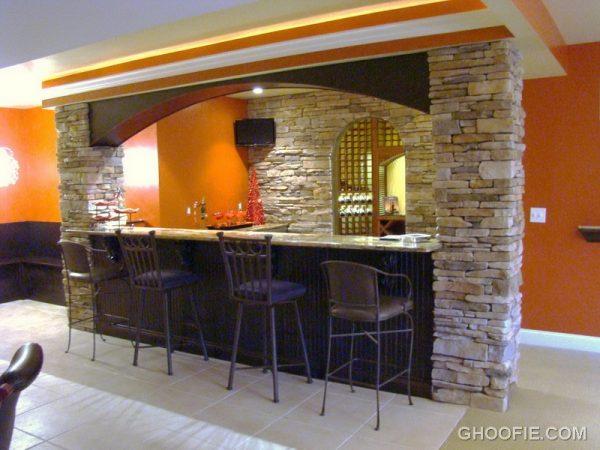We Share Natural Stone Wall Padded Barstools Contemporary Home Bar Medium