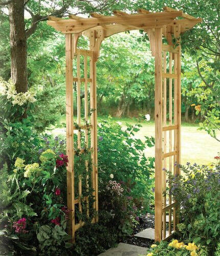 We Share Premium Suncast Cedar Arbor New  Wooden Arch Trellis Wood Medium