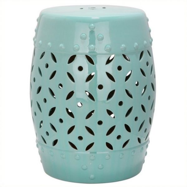 We Share Safavieh Lattice Coin Ceramic Garden Stool In Robbins Egg Medium