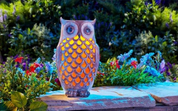 We Share Solar Powered Led Ceramic Owl Outdoor Decor Night Light Medium