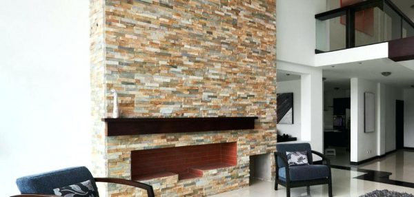 We Share Stacked Travertine Fireplace We Removed The Facade Medium