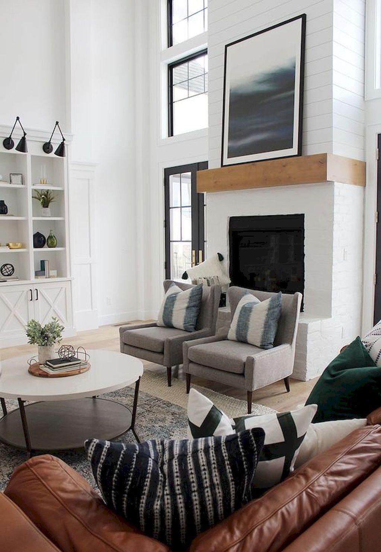 farmhouse style living room decor ideas 43