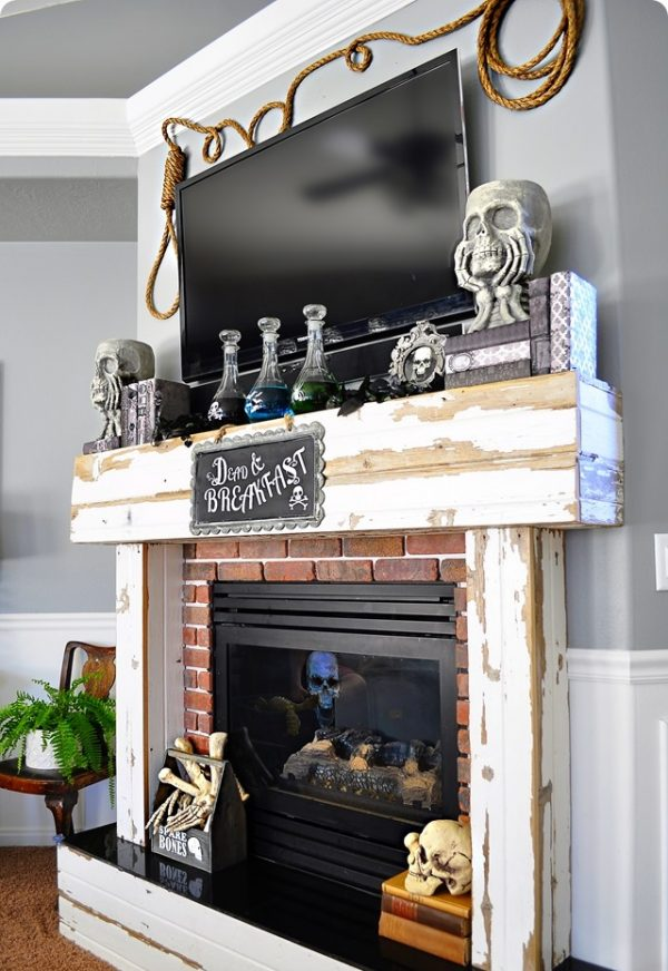 Inspiration 23 Best Ideas For Halloween Decorations Fireplace And Mantel Medium