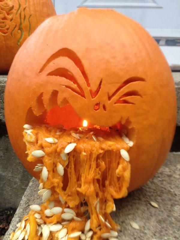 looking pumpkin carving puking pumpkin fall  halloween medium