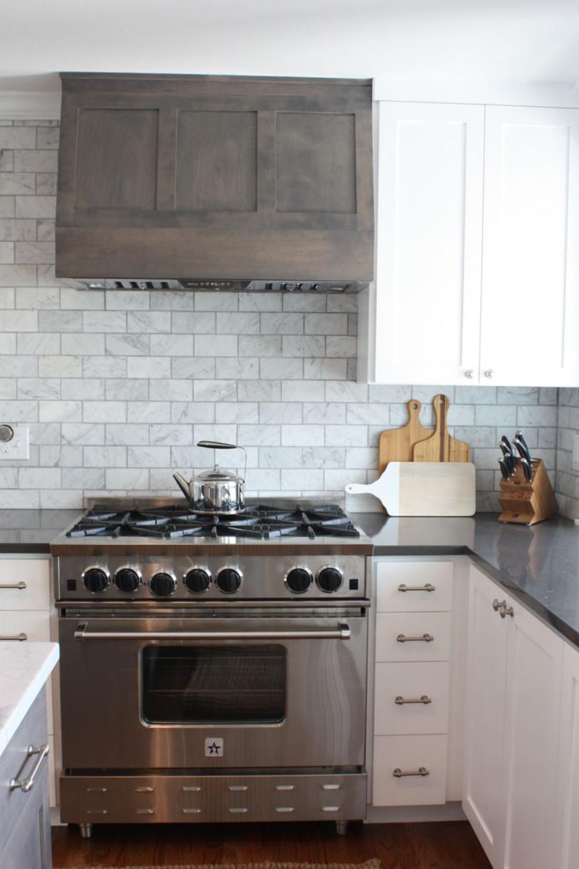 Extraordinary White Gray Subway Marble Backsplash Tile